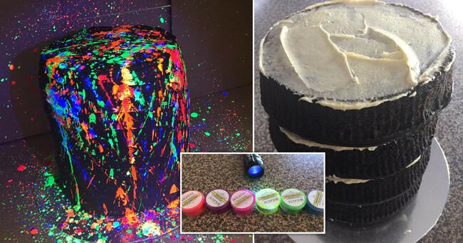 Woman makes colourful glow-in-the-dark mudcake using vodka