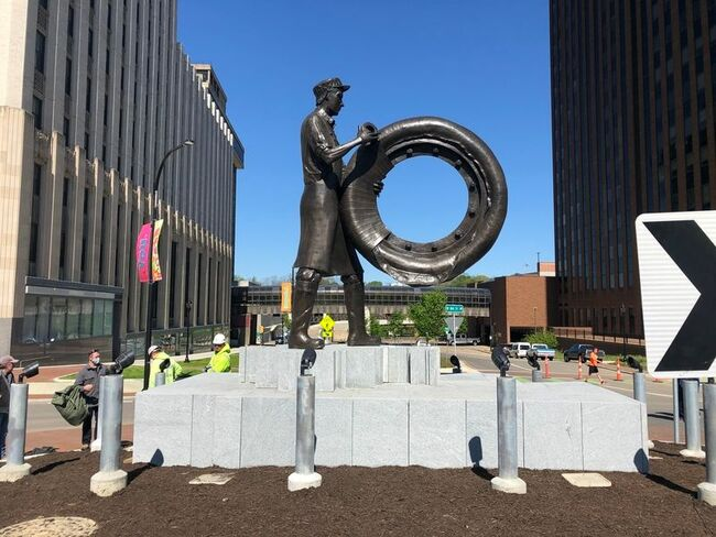Watch: Akron unveils statue honoring rubber workers
