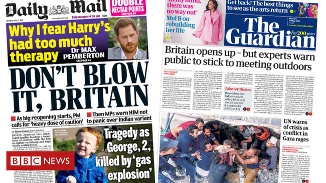 The Papers: 'Don't blow it, Britain' as nations 'open up'