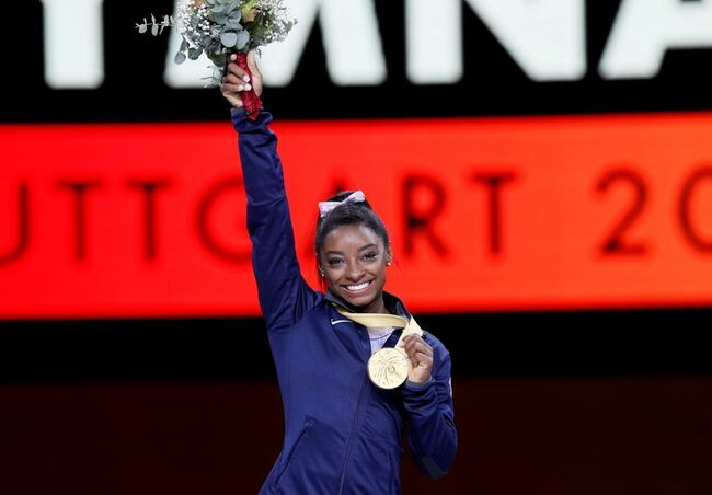 Biles makes history with Yurchenko double pike, wins title at U.S. Classic