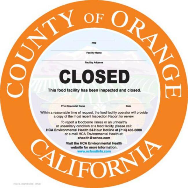 Orange County restaurants shut down by health inspectors (Aug. 12-20)