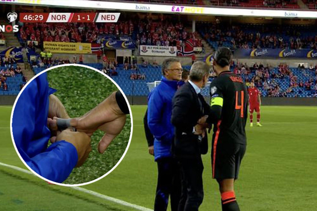 Liverpool defender Virgil van Dijk has dislocated finger popped back in on touchline in gruesome scenes for Holland