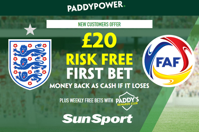 Get a £20 risk FREE BET on England vs Andorra in World Cup qualifier, plus 45/1 Paddy Power special