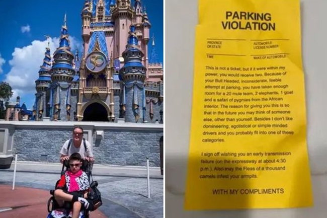 Mum who took her disabled son to Disney World left devastated by brutal note left on her car savaging her parking