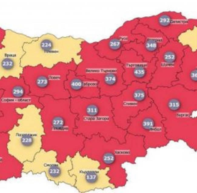Blagoevgrad Added to Red Zone Regions on Bulgaria's Covid Morbidity Map