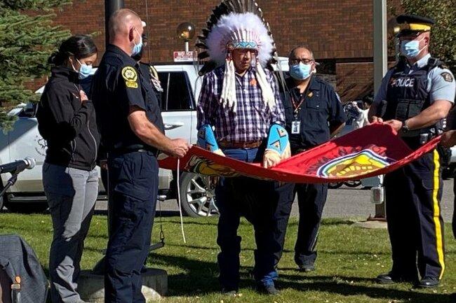 Siksika Nation flag raising at Calgary-area hospital addresses 'discrimination and racism'