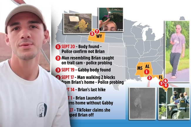 Map of Brian Laundrie's recent sightings as FBI hunt for him