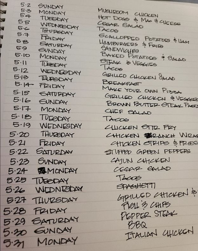 Mum shares incredibly detailed meal plan which keeps her organised for a MONTH