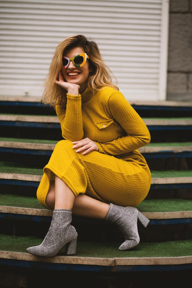 Women's Yellow Long-sleeved Dress
