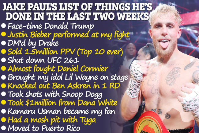 Jake Paul reveals 13-long list of things he's done in two weeks including 'shutting down UFC' and moving to Puerto Rico
